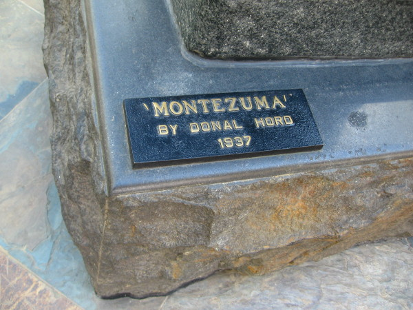 The sculpture's base, which was presented to SDSU by the graduating class of 1937, has a plaque with the title Montezuma. The artist himself called his piece the Aztec.