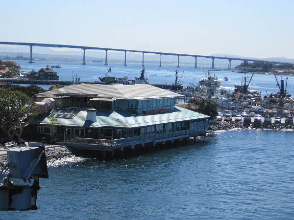 A view of the bay from the horns of uss midway cool san for Fish market seaport village