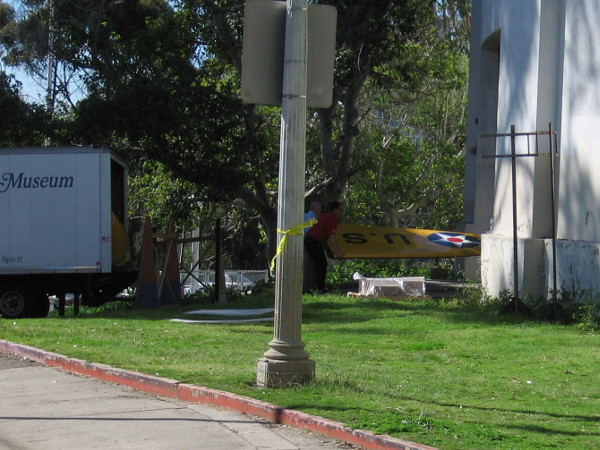 As I walked through Balboa Park, I spied a wing vanishing into the San Diego Air and Space Museum. It belongs to a Boeing P-26 Peashooter, which was on loan for a year in Seattle for the Boeing Centennial.