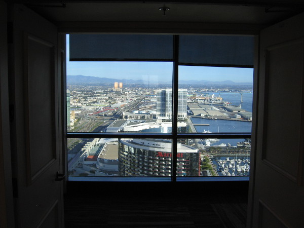 Approaching the south observation window on the 40th floor of the Manchester Grand Hyatt.