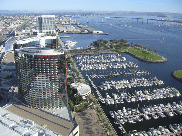 Looking to the south across San Diego Bay and past the Coronado Bay Bridge.