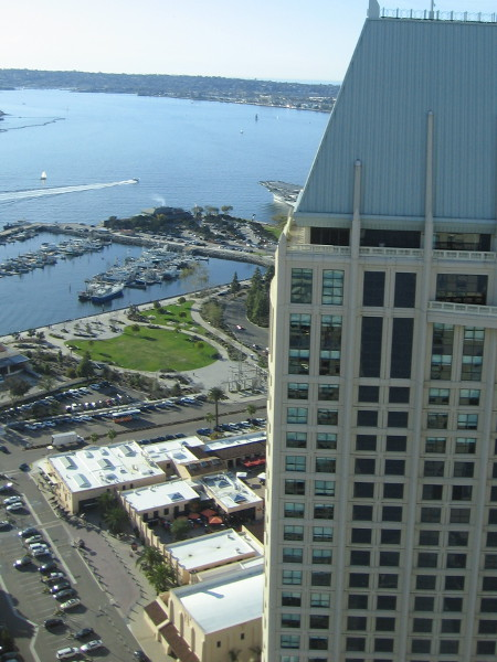 At the other window, looking northwest, past the hotel's second tower, one can see a slice of San Diego Bay and Point Loma.