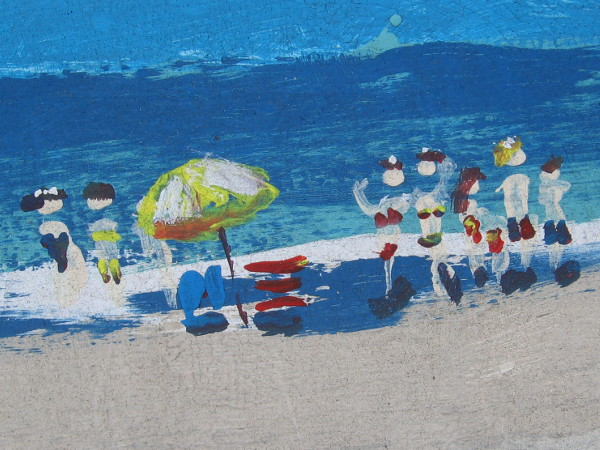 Close look at one part of the impressionistic painting of the beach.