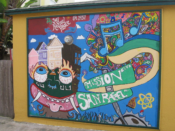 And right next to it is another colorful, psychedelic panel of street art. Find it at Mission Blvd and San Rafael Pl.