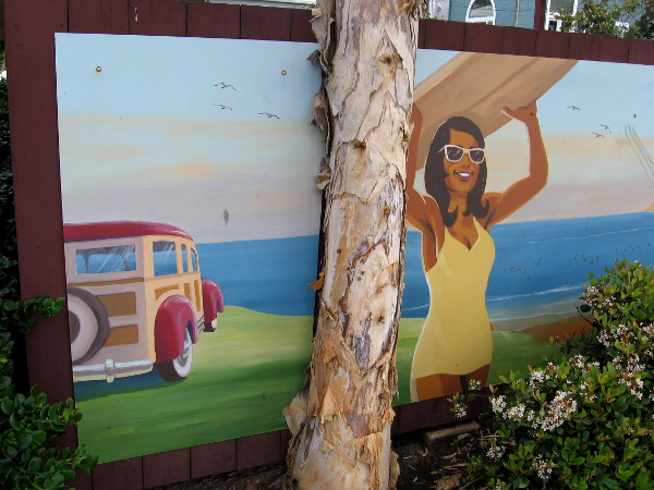 One of several cool, nostalgic beach images on one parking lot fence. A surfer girl and a woodie overlooking the ocean.