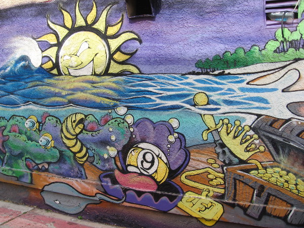 Some awesome street art can be seen in an alley off Mission Boulevard just south of Pismo Court. Local guys have painted walls and created cool metal sculptures.