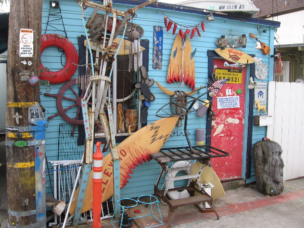 Loads of creative art and fun beachy stuff in front of Vinny's place, an example of the cool Mission Beach vibe.