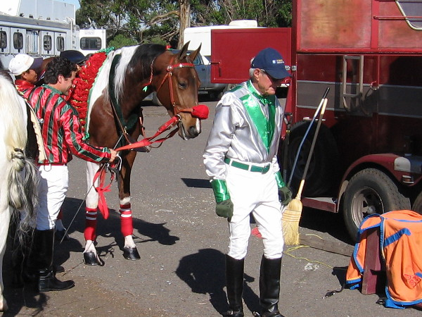 Horse and rider get ready in Balboa Park's Marston Point parking lot.