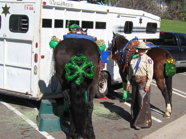 Law enforcement would ride in the parade, too. These two horses were wearing some green shamrocks.