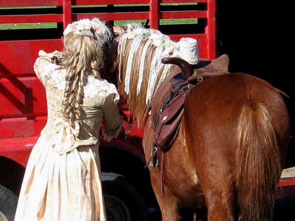 A horse and rider with fancy braids.