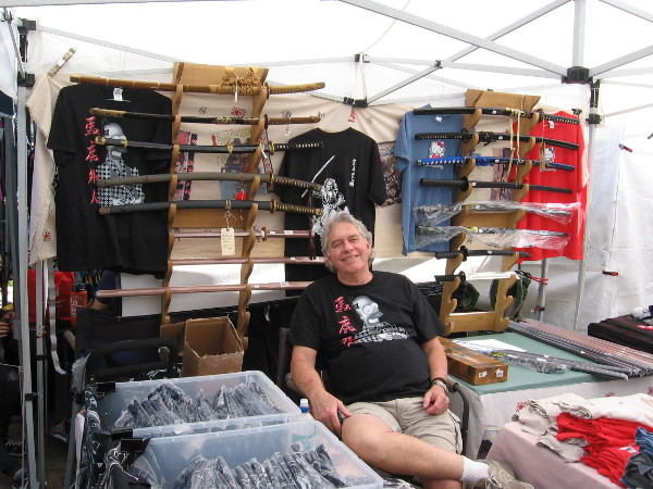 This cool guy had genuine samurai swords for sale.