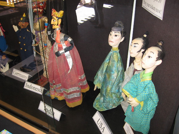 Inside the Inamori Pavilion, a variety of marionettes are on display. The Edo Marionettes will perform at the Japanese Friendship Garden on April 30.