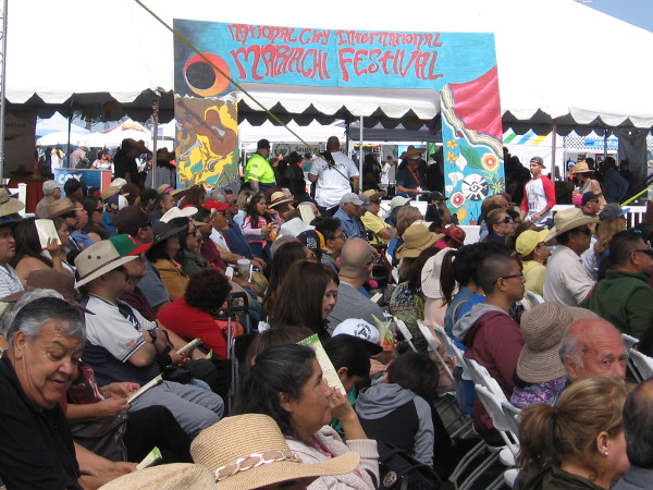 The audience watches the dancers perform on the Main Stage of the National City International Mariachi Festival.