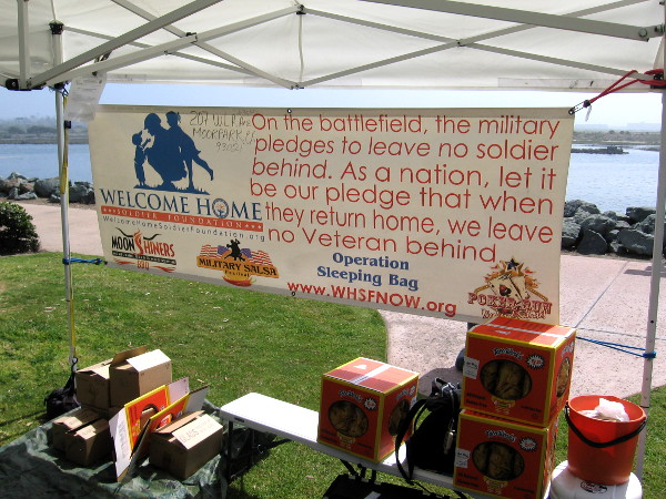 Banner explains mission of the Welcome Home Soldier Foundation. Operation Sleeping Bag helps homeless Veterans.