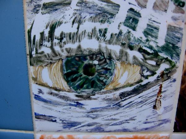 A human eye. A smudge of dirt looks like a tear.