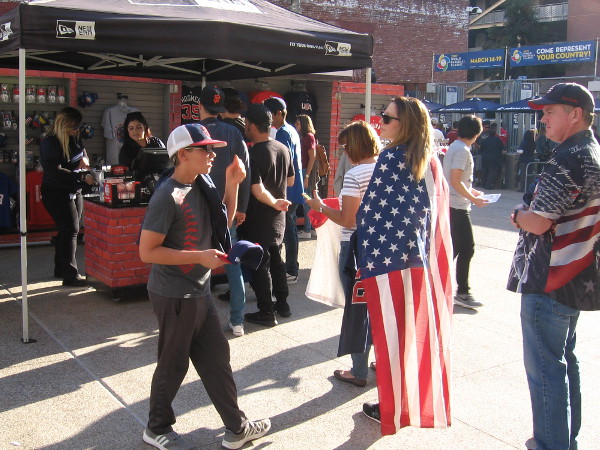 Team USA fans in line to buy merchandise at Petco Park during the World Baseball Classic in San Diego.