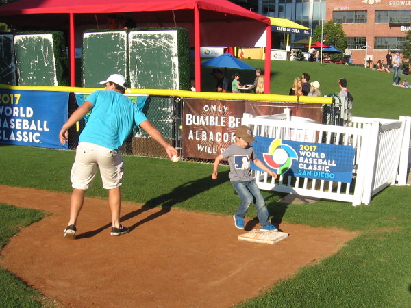 Fans of all ages were having fun before the game began in the Park at the Park.