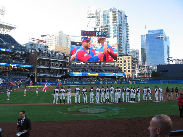 Players for both Venezuela and the United States were given a rousing introduction.