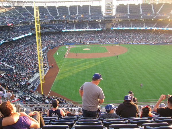 The game has begun! It's a beautiful evening for baseball in San Diego, of course!