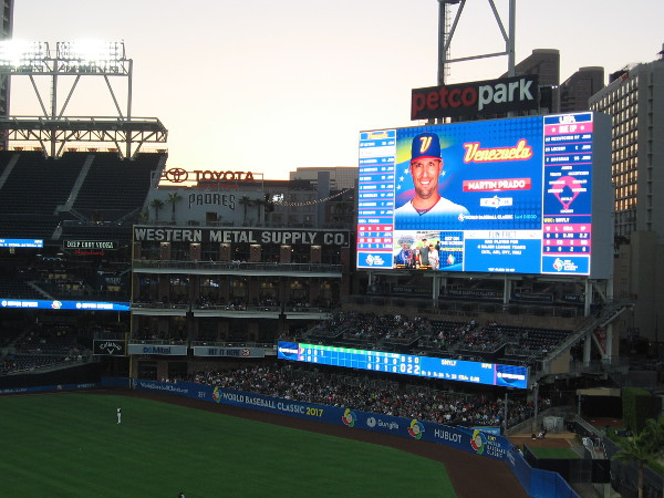 Venezuela is at bat as the sun sets and Petco's lights come on. They were first to score.