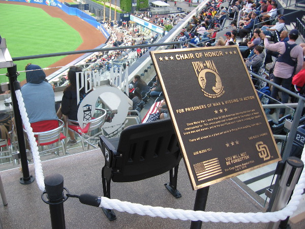 As I walked about the stadium, I took a photo of the Chair of Honor. The empty chair honors prisoners of war and those missing in action.