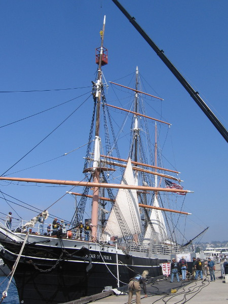 Working high in the San Diego sky, above the oldest active sailing ship in the world, Star of India.