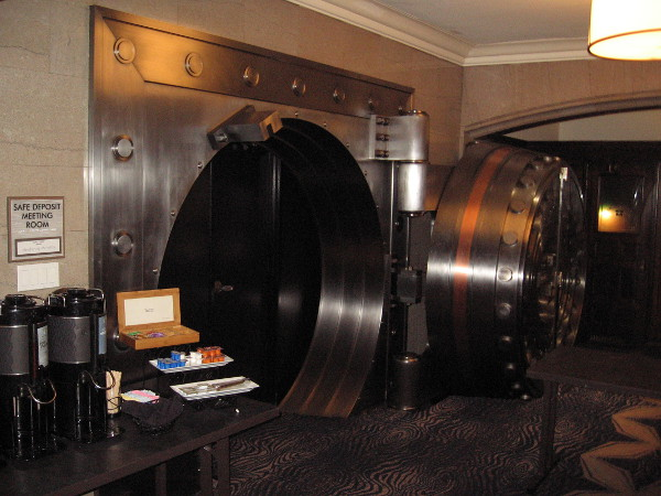The Safe Deposit Room in the Courtyard by Marriott San Diego Downtown has a rather unusual entrance! The 1928 Mosler safe door weighs 47,000 pounds! Meetings can be held inside.