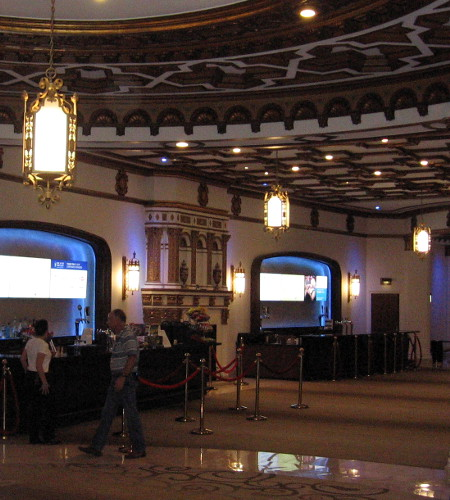 The elegant main lobby of Copley Symphony Hall in San Diego.