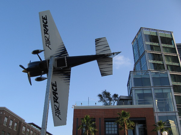 Now the Red Bull Air Race plane seems to be banking toward the Gaslamp! Perhaps it will fly up Fifth Avenue!