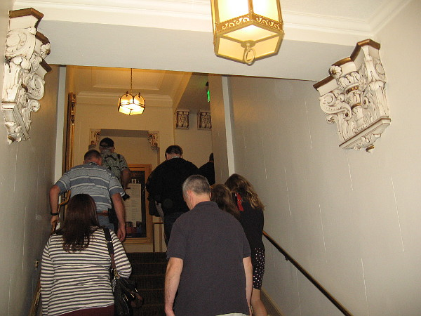 We've left backstage and are heading up some stairs to Copley Symphony Hall's upper level, whose entrance is on hilly Seventh Avenue.