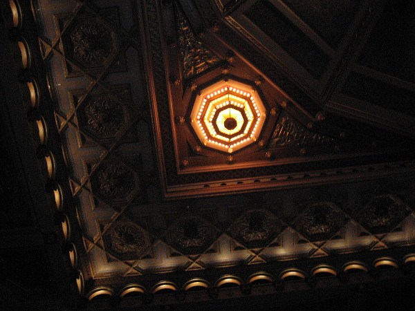 One of several smaller chandeliers in the spectacular ceiling.