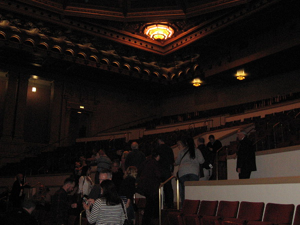 The interior of the theatre was too dark for my old camera to capture many good photographs. After listening to a brief organ concert, our tour group prepares to exit Copley Symphony Hall's upper seating level.