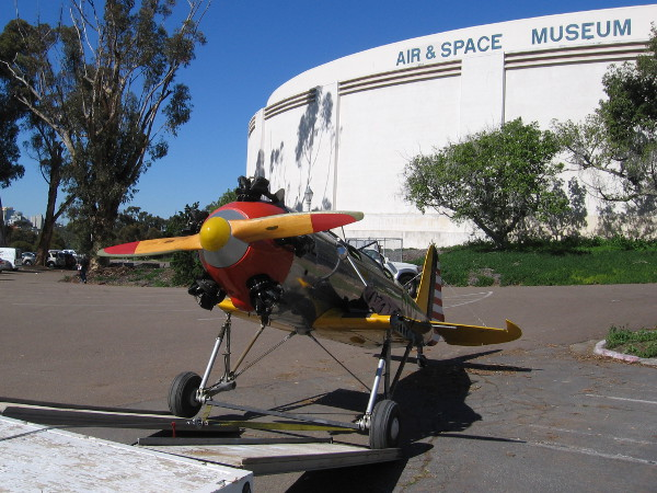 A cool, unexpected sight in the parking lot behind the San Diego Air and Space Museum!