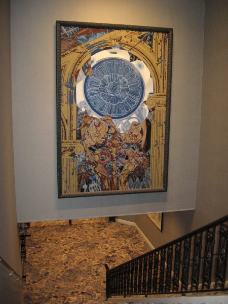 Some beautiful artwork above stairs descending to the Crystal Ballroom.