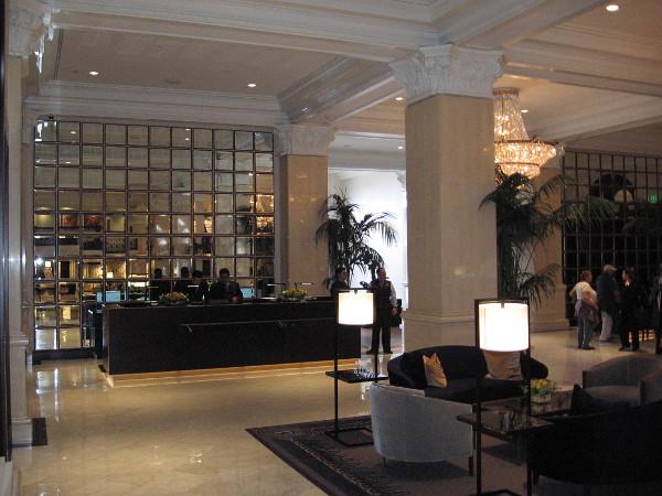 The U.S. Grant Hotel's front desk.