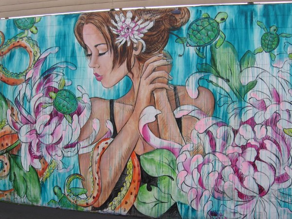 One final close look at the gorgeous art painted by muralist Amandalynn in Pacific Beach.