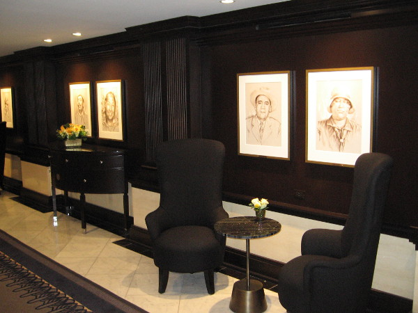 A sitting area near the bank of elevators.