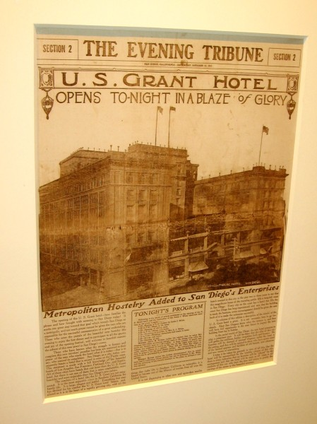 Headline of The Evening Tribune announces the opening of the U.S. Grant Hotel on October 15, 1910.