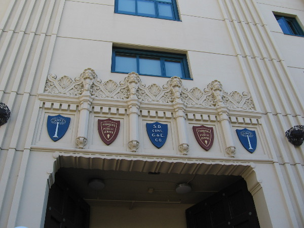 Historical ornamentation above the front entrance of the SDSU Downtown Gallery.