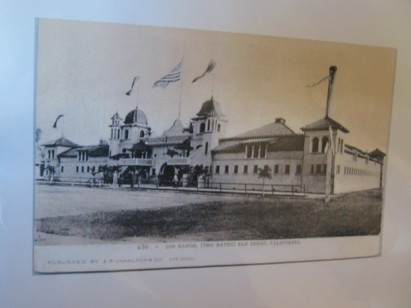Old photo of Los Banos, a bathhouse which was located just south of Santa Fe Depot. The neo-Moorish structure designed by William S. Hebbard and Irving J. Gill opened in 1897.