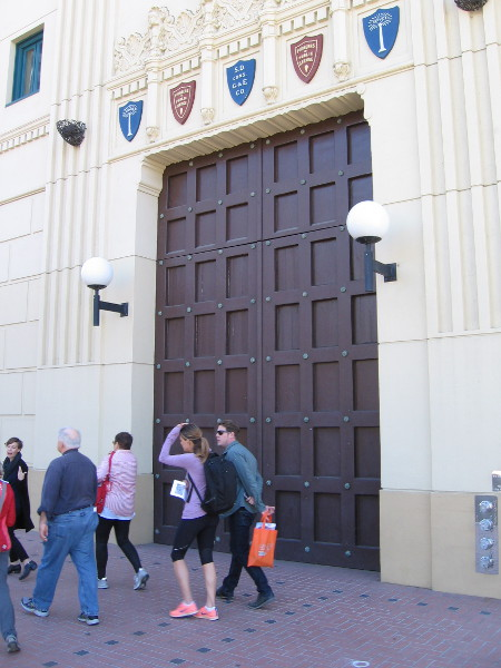 Our tour walks along Broadway side of the SDSU Downtown Gallery building.