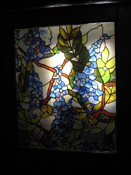 If I recall, this stained glass panel was in a door on the second floor. Those appear to be grapes.