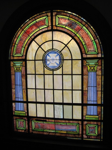 The many stained glass windows seem to fill the historic building with magic.