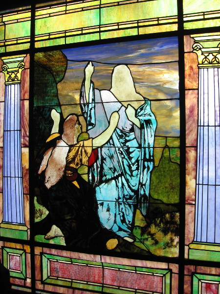 The beautiful stained glass is both mysterious and penetrating.