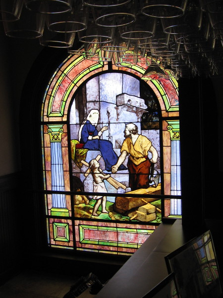 A scene from the Bible. One of many stained glass windows that fill The Abbey on Fifth Avenue with color and life.