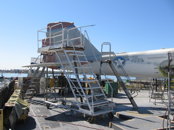 The tail of the A-6 Intruder is being refurbished and repainted, too.