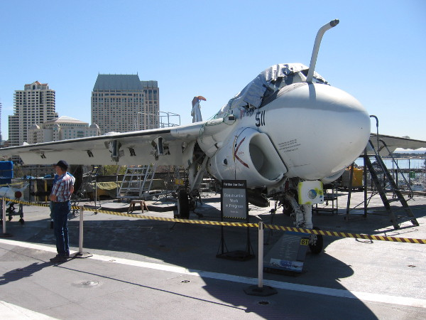 Many skilled volunteers at the USS Midway Museum work continuously to keep the many aircraft exhibits in great condition!
