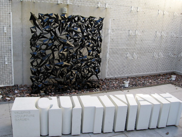 The small Valeiras Sculpture Garden at San Diego's Central Library is located on the Ninth floor, adjacent to the Art Gallery.