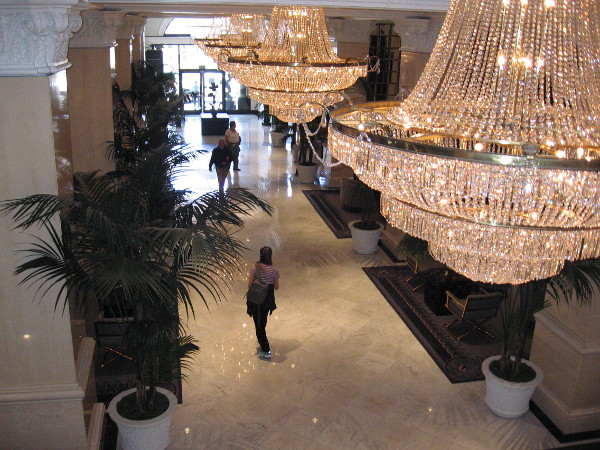 A look across the U.S. Grant Hotel lobby from the mezzanine level. Pure elegance.