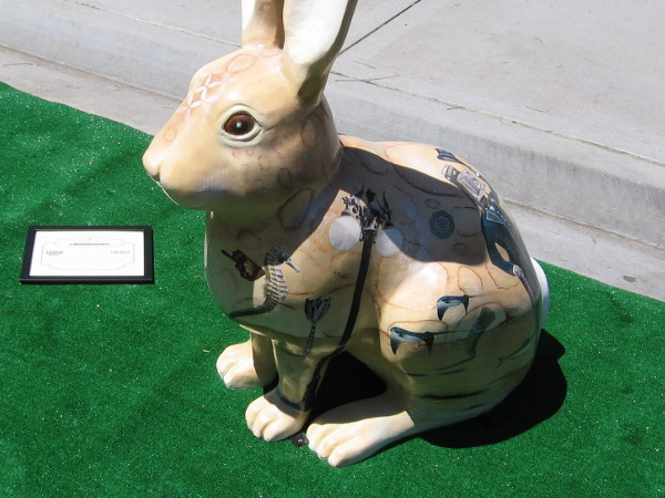 A fiberglass rabbit named Willabee painted by artist Matt Forderer contains images from San Diego's history.